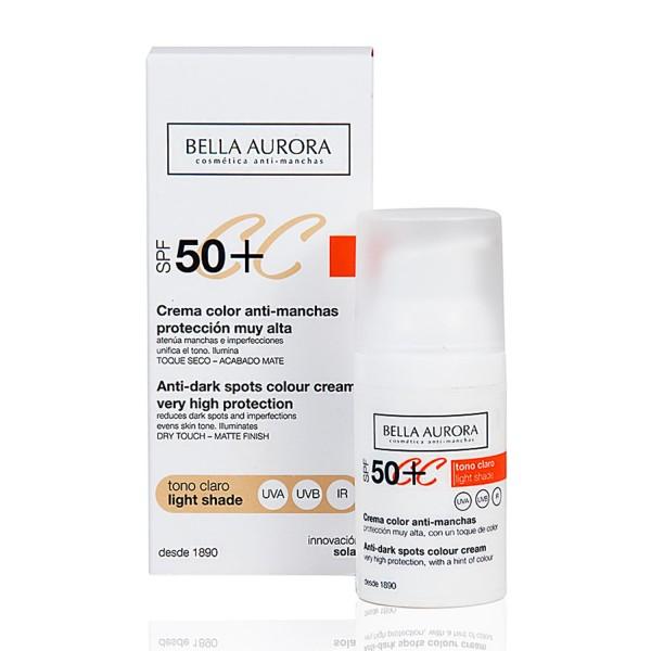 Bella aurora spf50 crema color anti-manchas tono claro 30ml