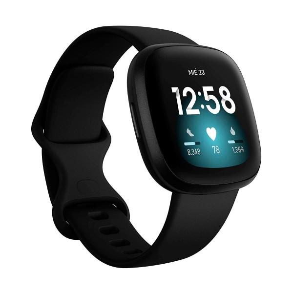Fitbit versa 3 negro/negro smartwatch asistentes google y alexa gps zona activa frecuencia sueño