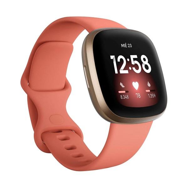 Fitbit versa 3 rosa/dorado smartwatch asistentes google y alexa gps zona activa frecuencia sueño