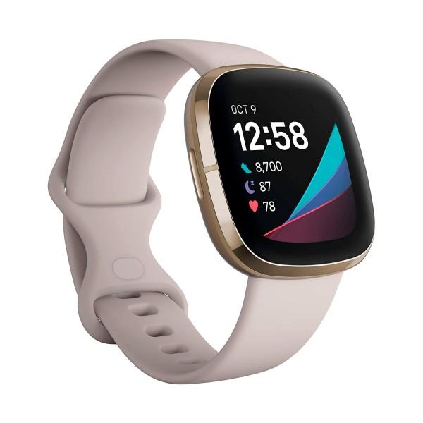 Fitbit sense blanco/dorado smartwatch asistentes google y alexa gps estrés frecuencia sueño temperatura