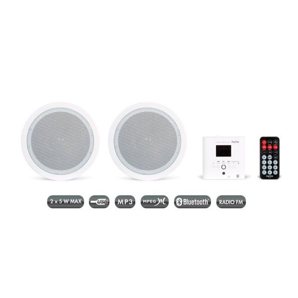 Fonestar ks-06 blanco pareja altavoces inalámbricos pared o techo con mando a distancia y receptor bluetooth